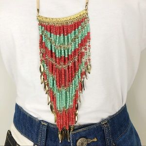 Beaded Feather Necklace